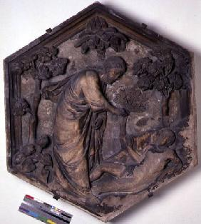 The Creation of Adam, hexagonal decorative relief tile from a series illustrating episodes from Gene  c.1334-48