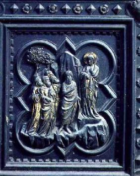 St John the Baptist Announces Christ, eighth panel of the South Doors of the Baptistery of San Giova 1336