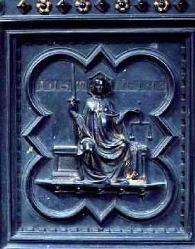 Justice, panel G of the South Doors of the Baptistery of San Giovanni 1336