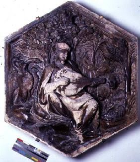 Poetry, hexagonal decorative relief tile from a series depicting the Seven Liberal Arts possibly bas  c.1334-48