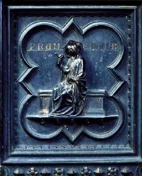 Prudence, panel H of the South Doors of the Baptistery of San Giovanni 1336