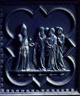 Zechariah is Struck Dumb, second panel of the South Doors of the Baptistery of San Giovanni 1336