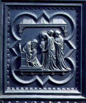 Zechariah Writes the Boy's Name, fifth panel of the South Doors of the Baptistery of San Giovanni 1336
