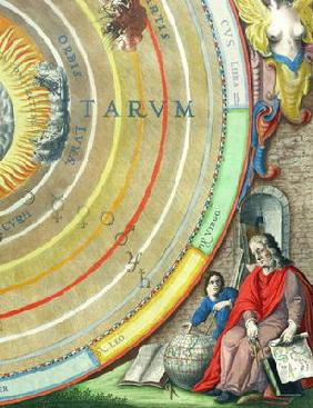 An Astronomer, detail from a map of the planets, from 'A Celestial Atlas, or The Harmony of the Univ 16th