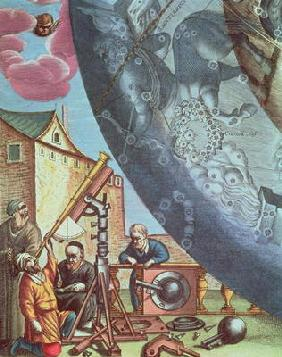 Astronomers looking through a telescope, detail from a map of the constellations from 'The Celestial 16th