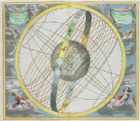 Map Charting the Orbit of the Moon around the Earth, from 'A Celestial Atlas, or The Harmony of the 16th