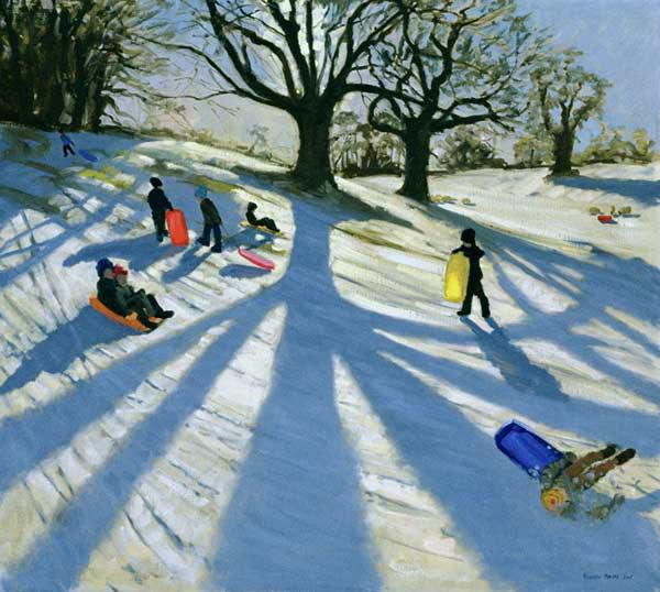 Winter Tree, Snow Sledgers, Calke Abbey, Derby (oil on canvas)