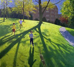 Children Running in the Park, Derby, 2002 (oil on canvas)