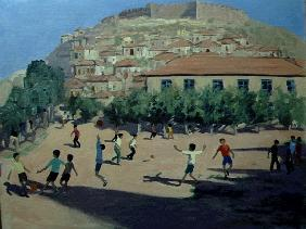 Football, Lesbos, 1998 (oil on canvas)