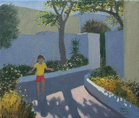 Girl Skipping, Santorini, 2002 (oil on canvas)