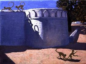 Monkey Temple, India, 2000 (oil on canvas)