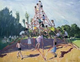 Playground, Derby, 1990 (oil on canvas)