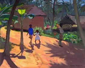 Road to Kovalum Beach, Kerala, 1996 (oil on canvas)