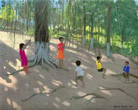 Tree Swing, Elephant Island, Bombay, 2000 (oil on canvas)