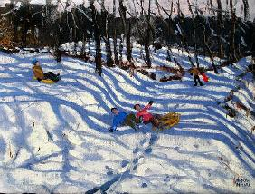 Two boys falling off a sledge, Morzine (oil on canvas)