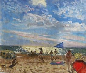 Blue flag and red sun shade, Montalivet