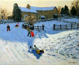 Children Sledging, Monyash, Derbyshire (oil on canvas)