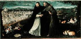 The meeting of St Francis of Assisi and St Dominic in Rome