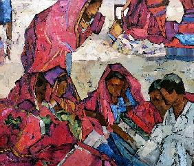 Sitting Women in Pink (oil on canvas)