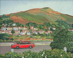 From the train, South Wales (oil on canvas)