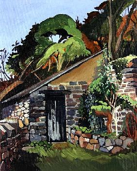 The Shed, Clovelly (oil on board)