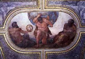 Hercules Supporting the World Flanked by Euclid and Ptolemy, from the 'Camerino' 1596