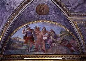 Lunette depicting Perseus Slaying the Medusa, from the 'Camerino' 1596