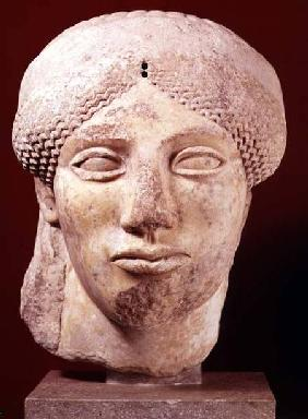 Colossal head of a Goddess, probably late Archaic to early Classical,Greek c.500 BC