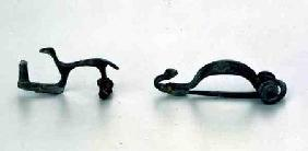Two fibulae in the shape of animals, from Bragny sur Saone,La Tene style 5th centur
