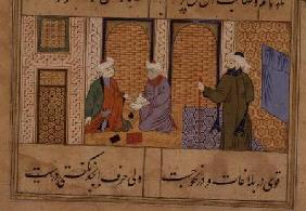 Folio 190, Two persons conversing, from 'the Bustan of Sa'di', inscription reads 'The work of Haji M 1500