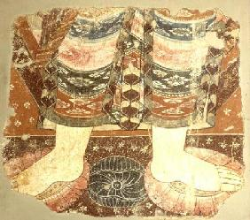 Fragment showing the Bodhisattva robe and feet (wall painting)Balawaste 7th-8th ce