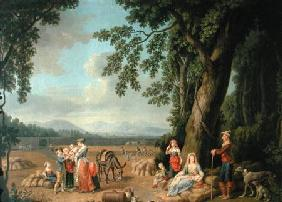 Harvest scene, with Ferdinand I (1503-64), his wife Anne of Bohemia and Hungary,and their children c.1620