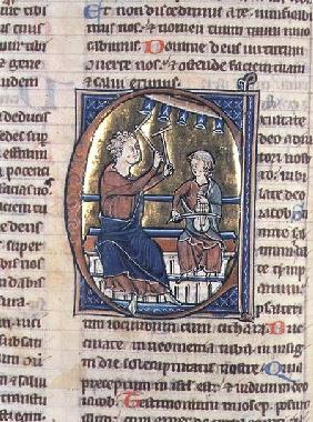 Historiated initial 'C' depicting two musicians, one playing the viol and the other the bell chimes 13th centu