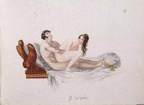 "Illustration from ""Les Extases de l'Amour (hand-coloured aquatint)"