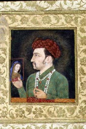 Jahangir holding a picture of the Madonna 1620