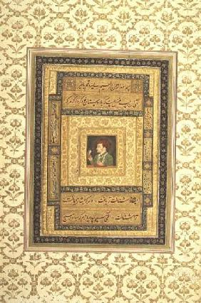 Jahangir holding a picture of the Madonna, inscribed in Persian: Jahangir Shah,Moghul 1620