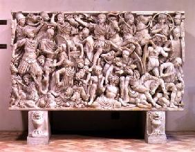 The Ludovisi sarcophagus with high relief representation of the Romans fighting the Barbarians 250-80 AD