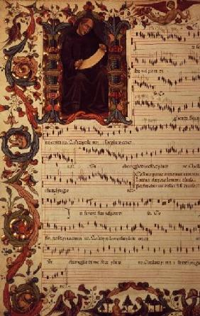 Ms Med. Pal. 87 Page of Musical Notation with historiated initial early 15th