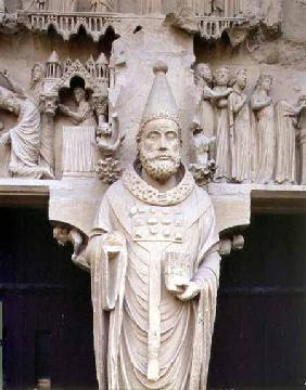 Pope Calixtus I (d.222) trumeau figure from the central 'Calixtus' Portal of the North transept c.1225-30