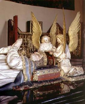 The tomb of Philip the Bolddetail of effigy and two angels after Clau