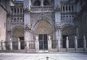 View of the West facade, detail of the three portals (LtoR) the Tower or Inferno Portal, the Portal begun 1418