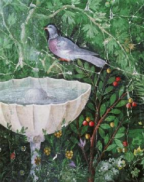 Wall painting of a dove in a garden by a fountain 1st centur