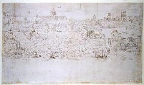 Billingsgate to Tower Wharf, from 'The Panorama of London' c.1544  an