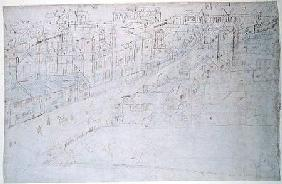 Borough High Street with St. Mary Overy, from 'The Panorama of London' c.1544  an