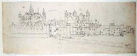 The Chapel and Gatehouse of Hampton Court, from 'The Panorama of London' c.1544  an