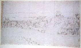 Durham House to Barnard's Castle, from 'The Panorama of London' c.1544  an