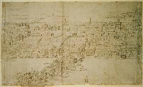 London Bridge, from 'The Panorama of London' c.1544  an
