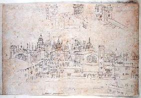Studies of Palace of Oatlands and Hampton Court, from 'The Panorama of London' c.1544  an