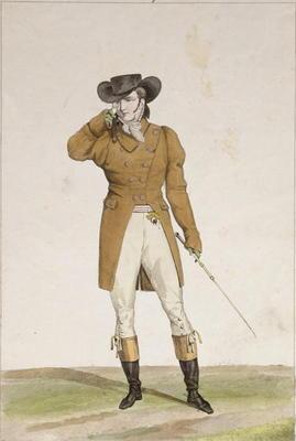 A Dandy dressed in a boat-shaped hat, a dun-coloured jacket and buckskin breeches, plate 1 from the 17th