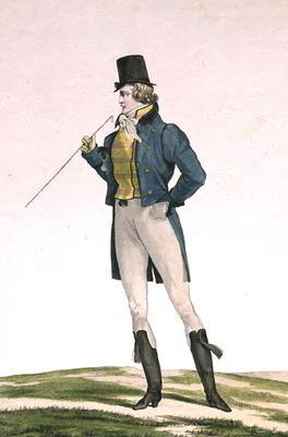 A Dandy in a Robinson hat, with childlike curls, knitted trousers, and riding boots, plate 5 in the 17th
